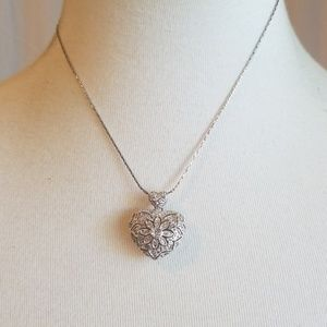 Cookie Lee Silver Toned Necklace w  Heart Pendant